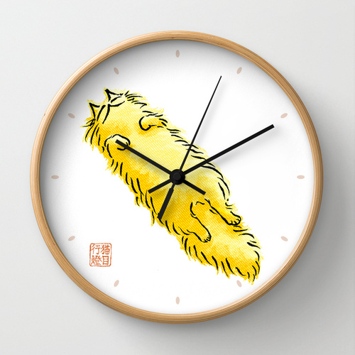Fluffy Flop Cat WALL CLOCK