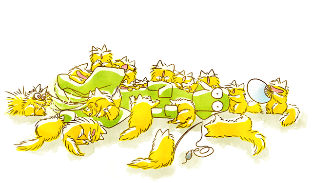 Dog and Full of Cats Funny illustration Twitter用