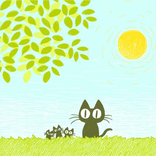 黒猫と葉っぱとお日様_compressed