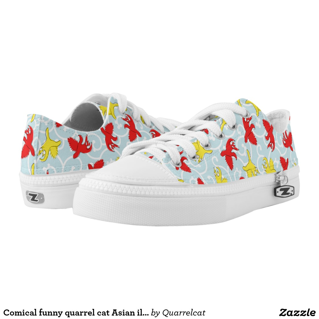 Comical funny quarrel cat Asian illustration Printed Shoes1