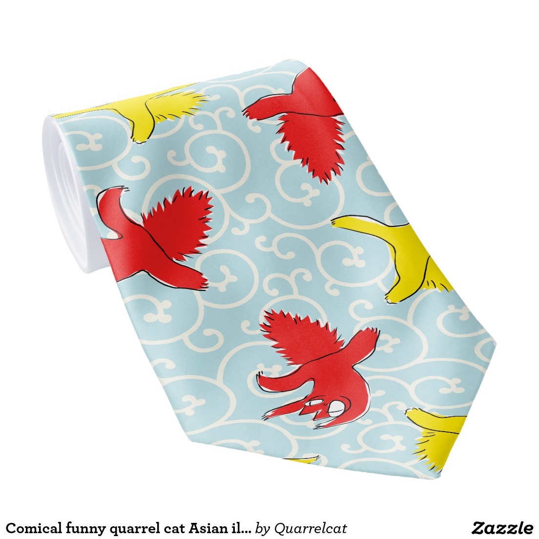 Comical funny quarrel cat Asian illustration Tie2