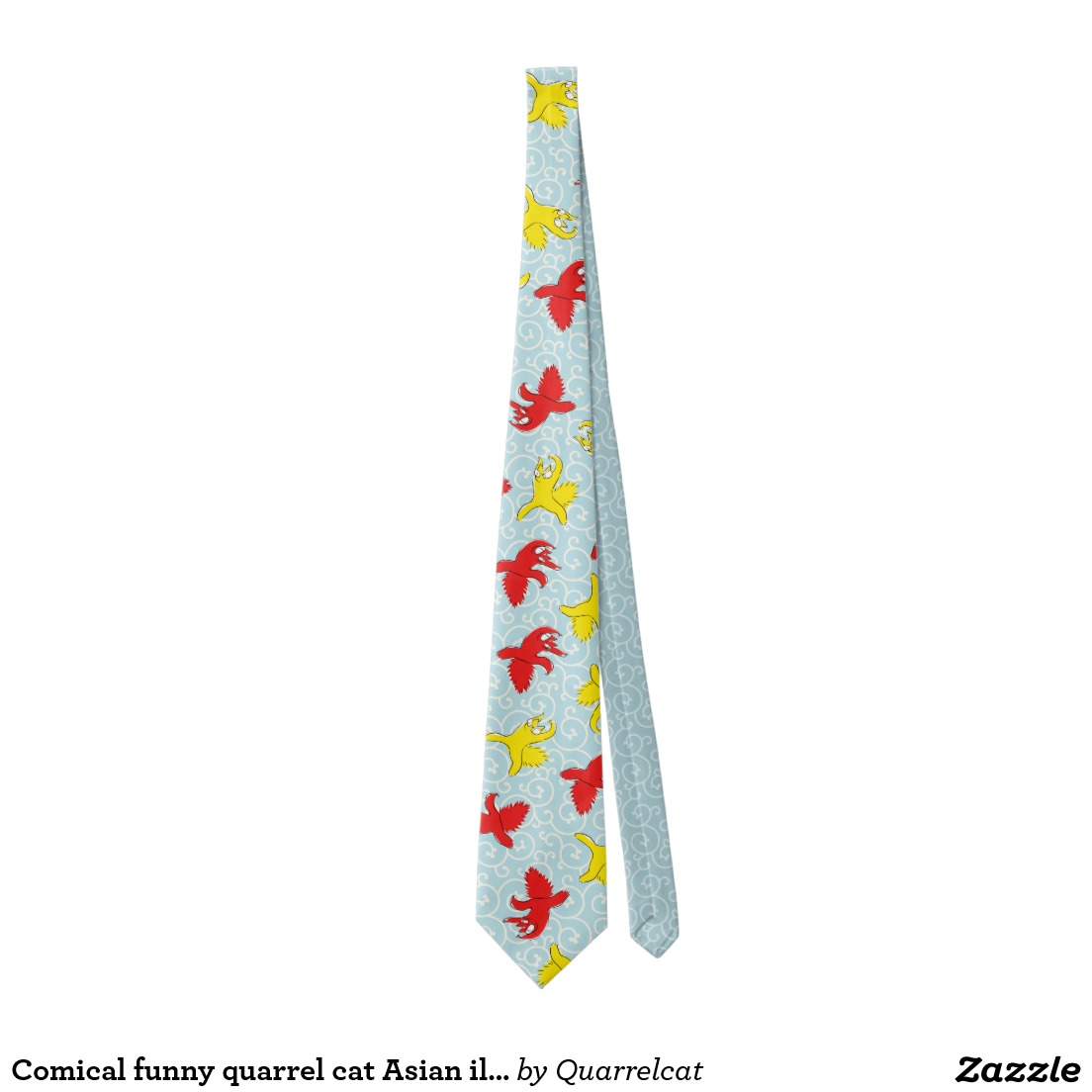 Comical funny quarrel cat Asian illustration Tie3