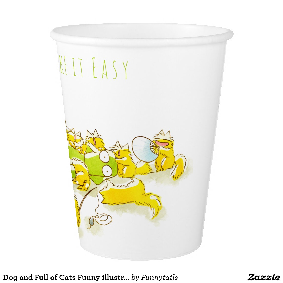 Dog and Full of Cats Funny illustration Paper Cup3