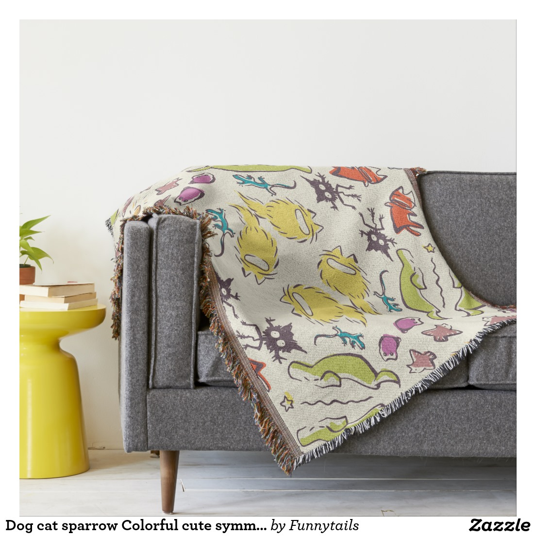 dog cat sparrow colorful cute symmetry throw blanket nekome andon