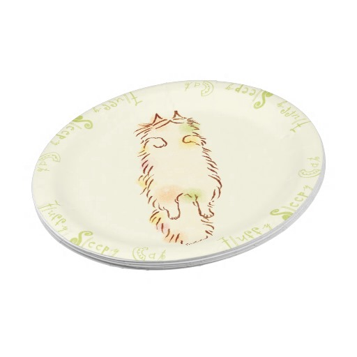 Fluffy Sleepy Cat 7 Inch Paper Plate2