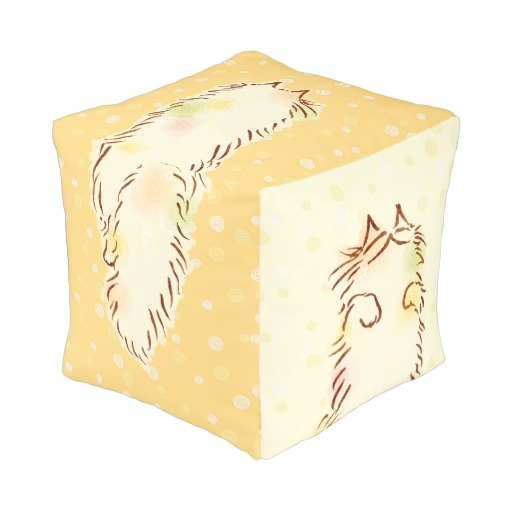 Fluffy Sleepy Cat Cube Pouf2