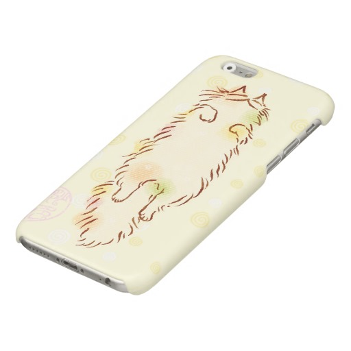 Fluffy Sleepy Cat Glossy iPhone 6 Case5