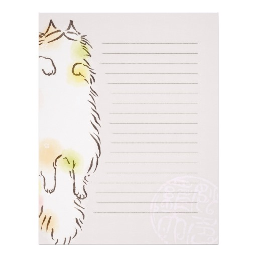 Fluffy Sleepy Cat Letterhead