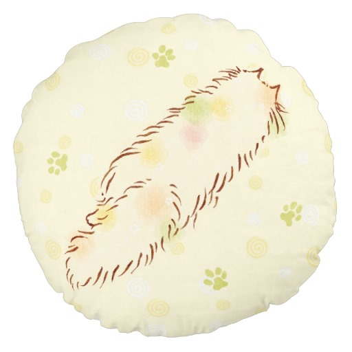 Fluffy Sleepy Cat Round Pillow2