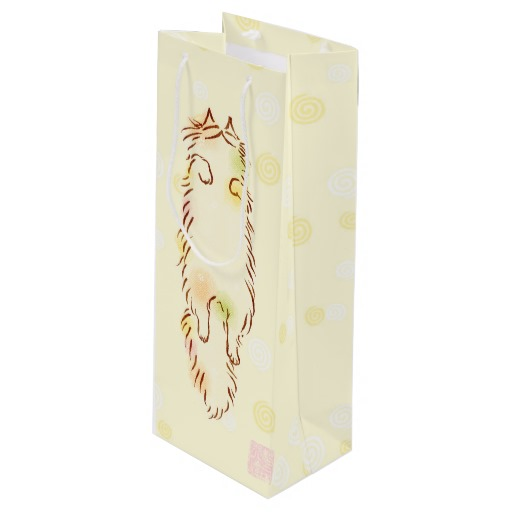 Fluffy Sleepy Cat Wine Gift Bag3