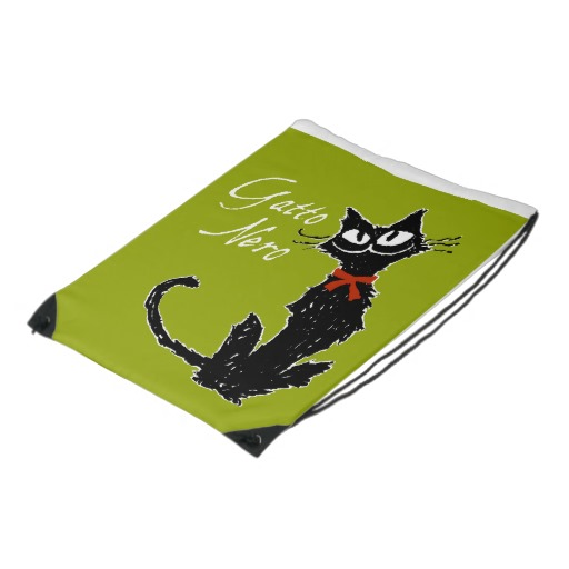 Gatto Nero (Black Cat) Cinch Bag