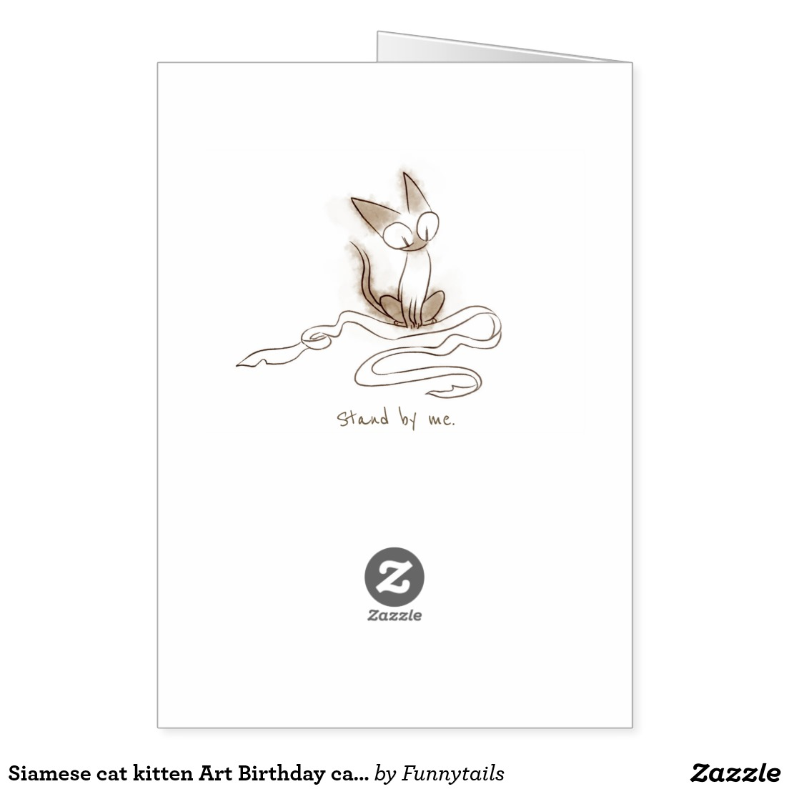 Siamese cat kitten Art Birthday card4
