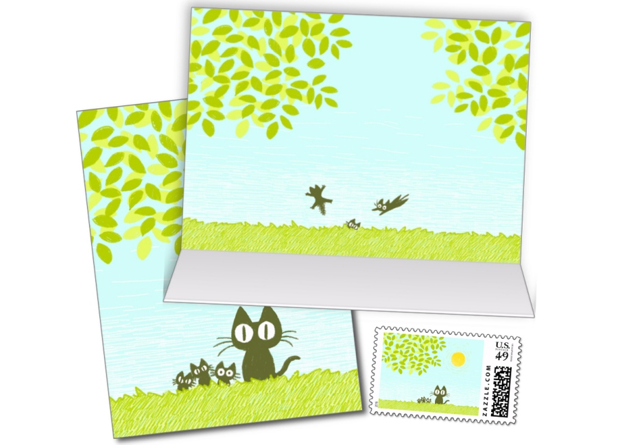 Sun and Leaves and BlackCat Card002_compressed