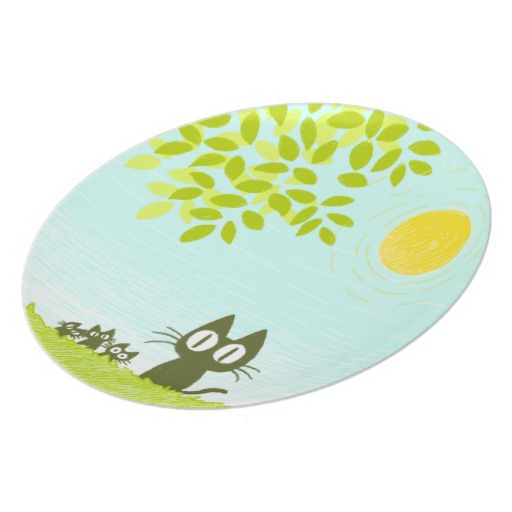 Sun and Leaves and Black Cat Plate