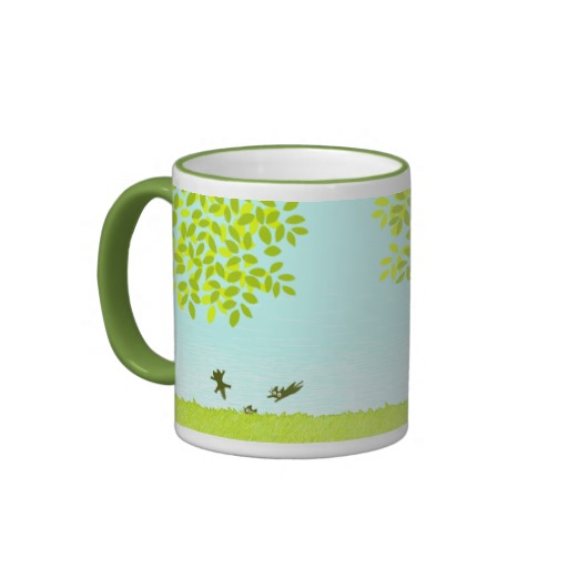 Sun and Leaves and Black Cat Ringer Mug