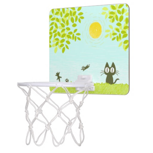 Sun and Leaves and Black Cat Mini Basketball Hoop