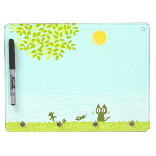 Sun and Leaves and Black Cat Dry-Erase Board