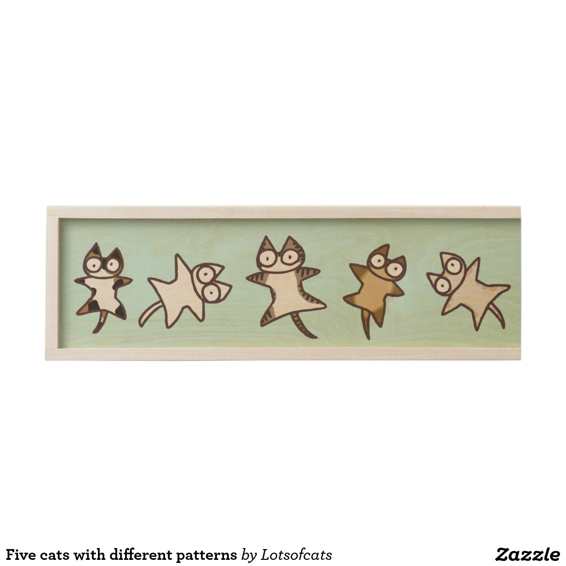 Five cats with different patterns wooden keepsake box