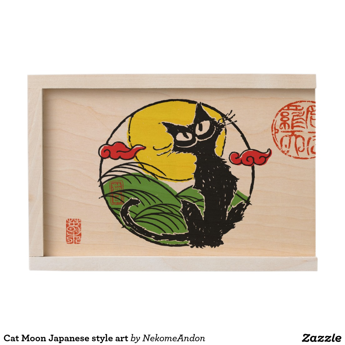 Cat Moon Japanese style art Wooden Keepsake Box
