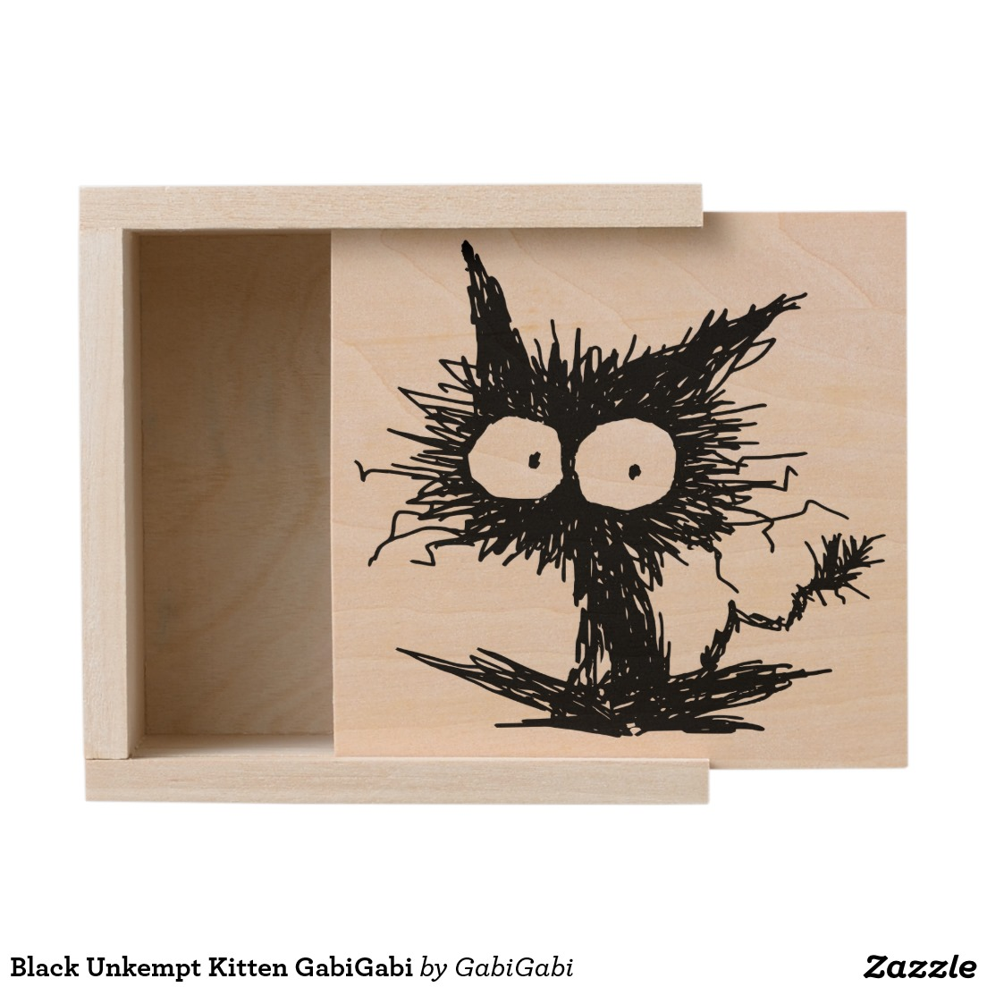 Black Unkempt Kitten GabiGabi Wooden Keepsake Box